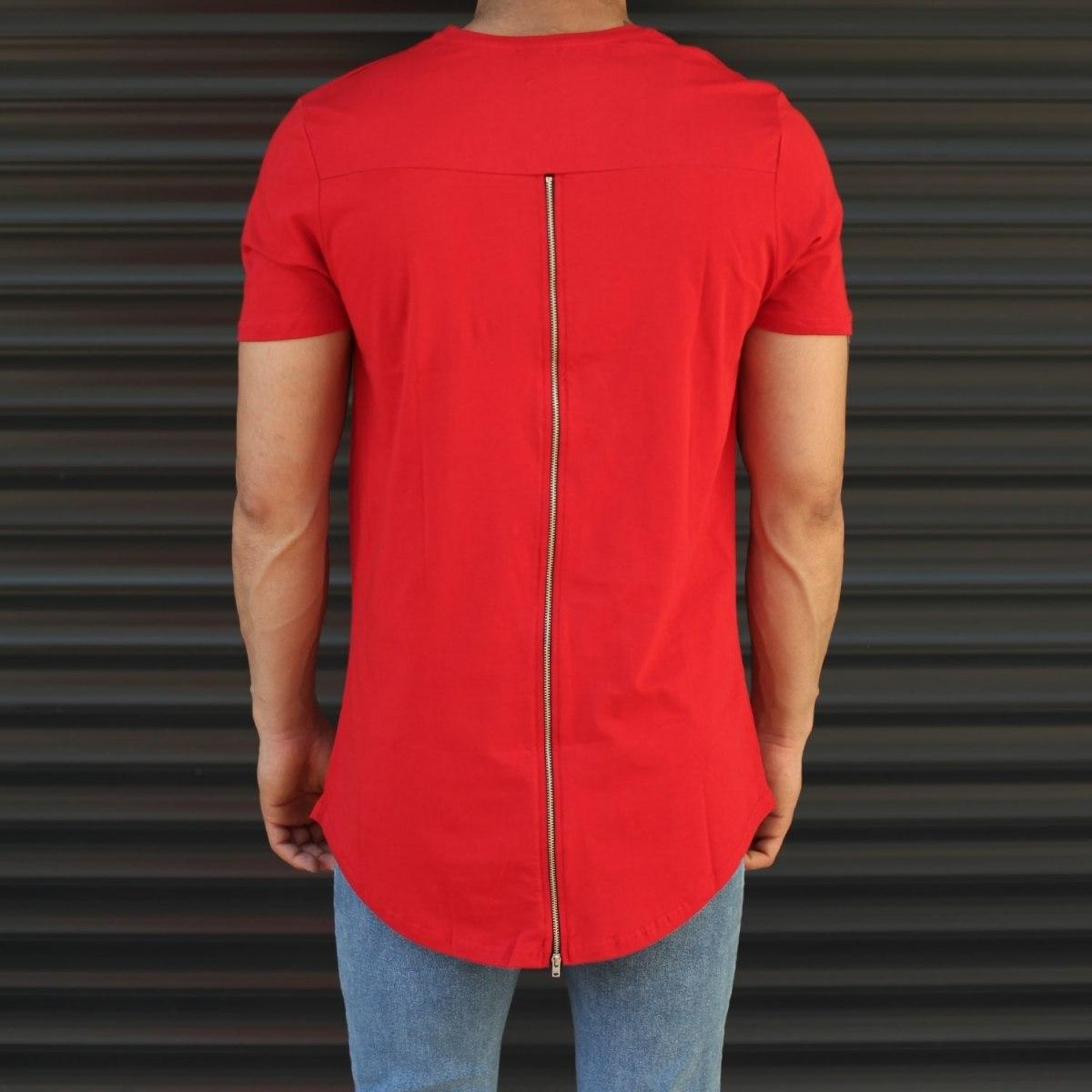 Men's Longline Back-Zipper T-Shirt In Red Mv Premium Brand - 2