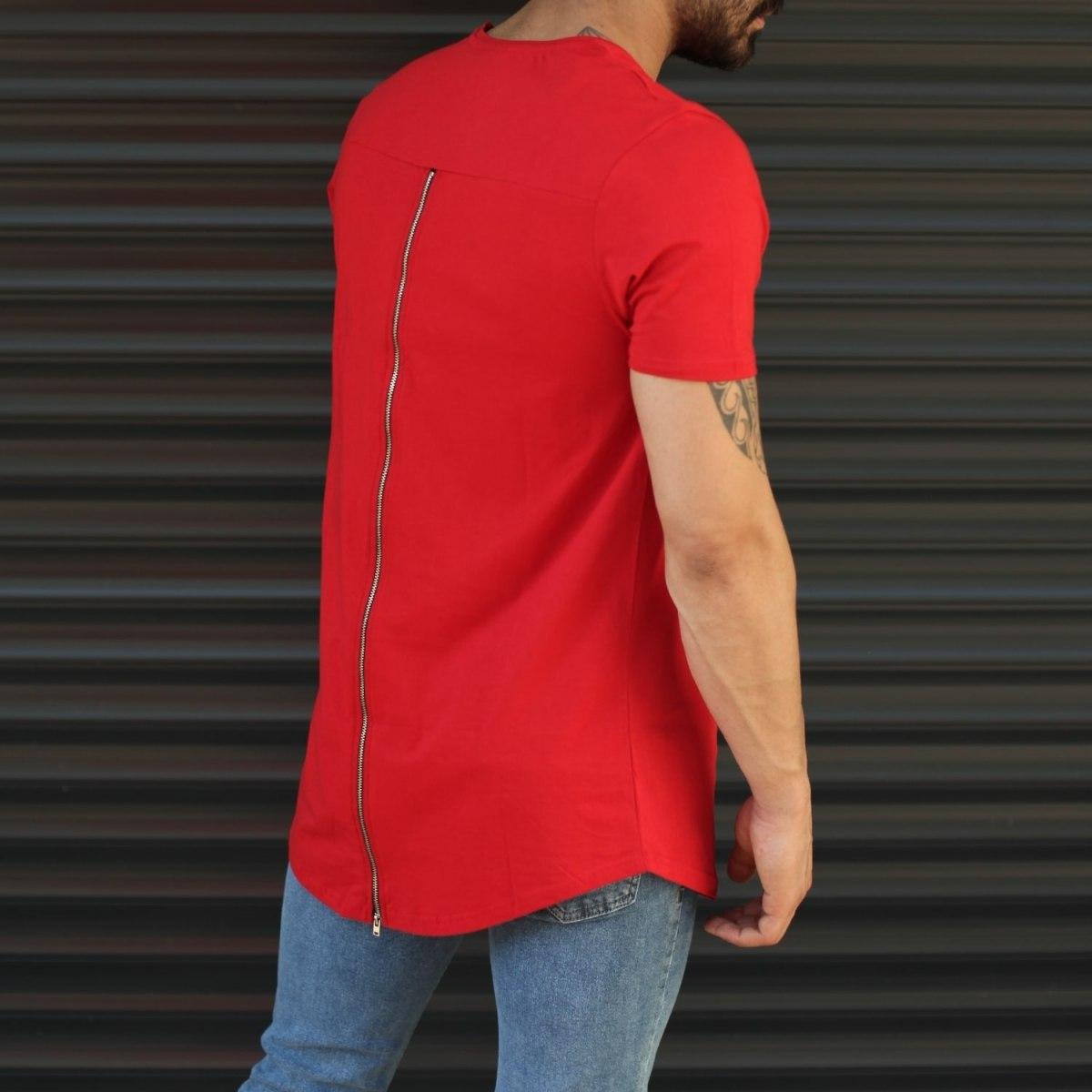 Men's Longline Back-Zipper T-Shirt In Red Mv Premium Brand - 3