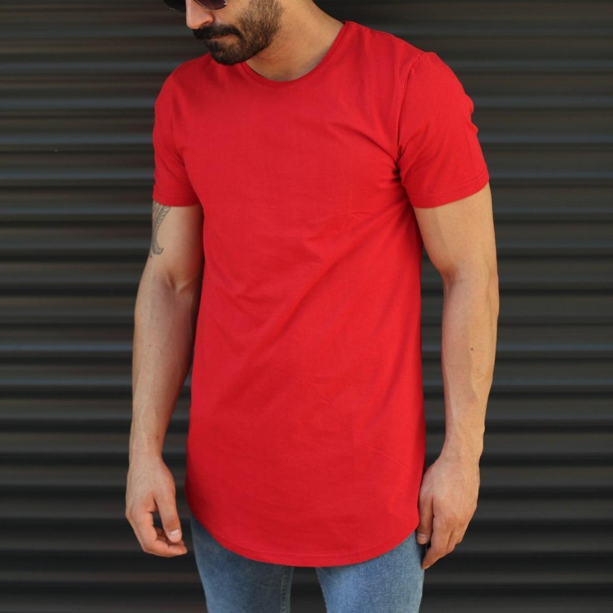 Men's Longline Round Neck T-Shirt In Red Mv Premium Brand - 1