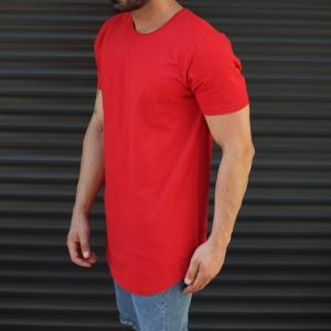 Men's Longline Round Neck T-Shirt In Red Mv Premium Brand - 2