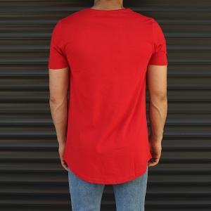 Men's Longline Round Neck T-Shirt In Red Mv Premium Brand - 3