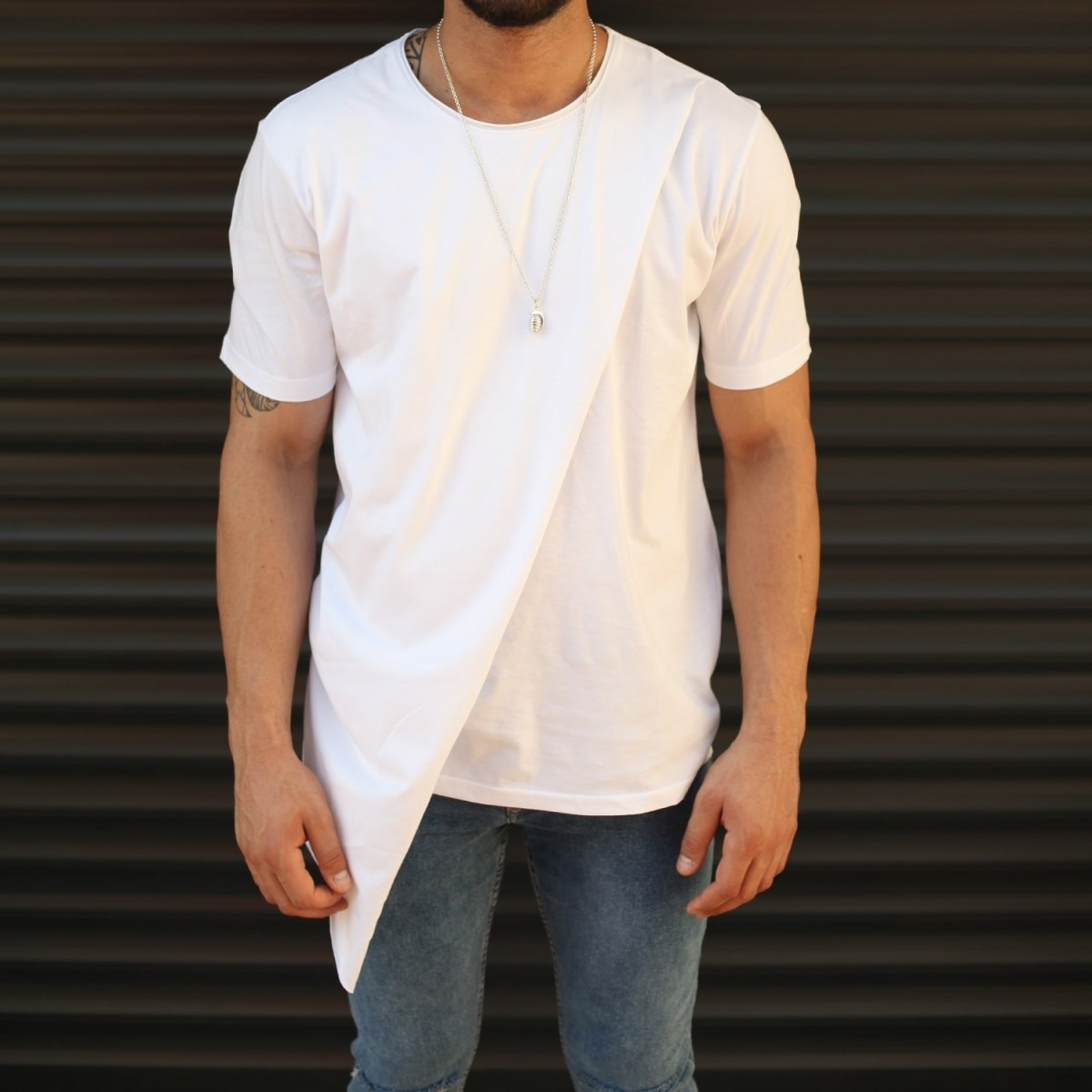 Men's Geometric Cut Longline T-Shirt White Mv Premium Brand - 1