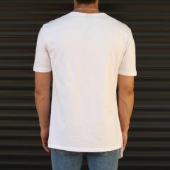 Men's Geometric Cut Longline T-Shirt White Mv Premium Brand - 2