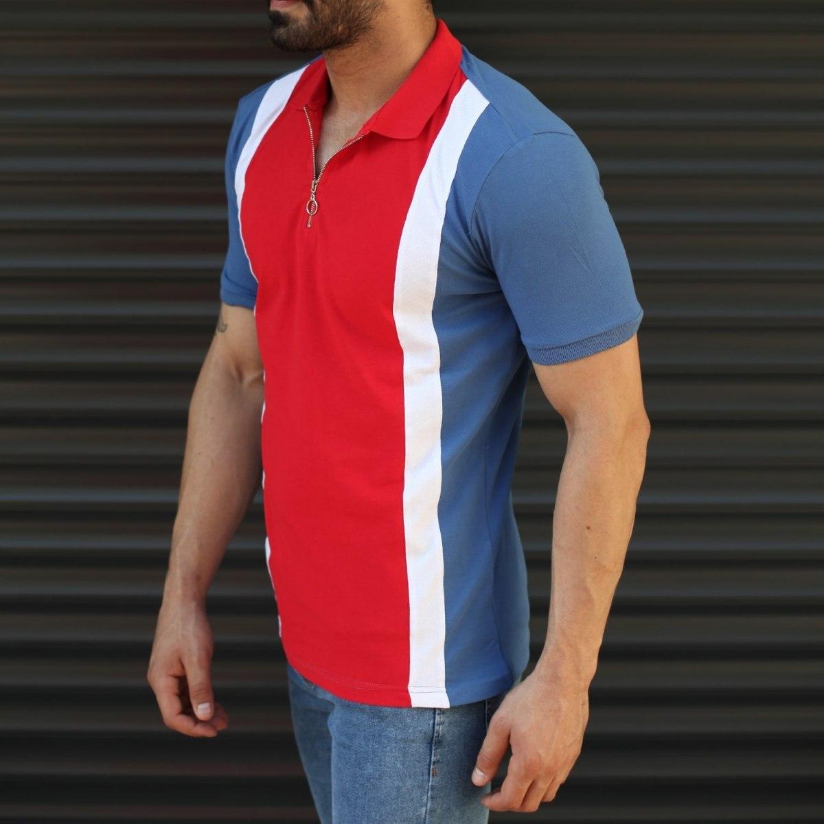 Men's Triple Color Slim Fit Polo T-Shirt Blue Mv Premium Brand - 1