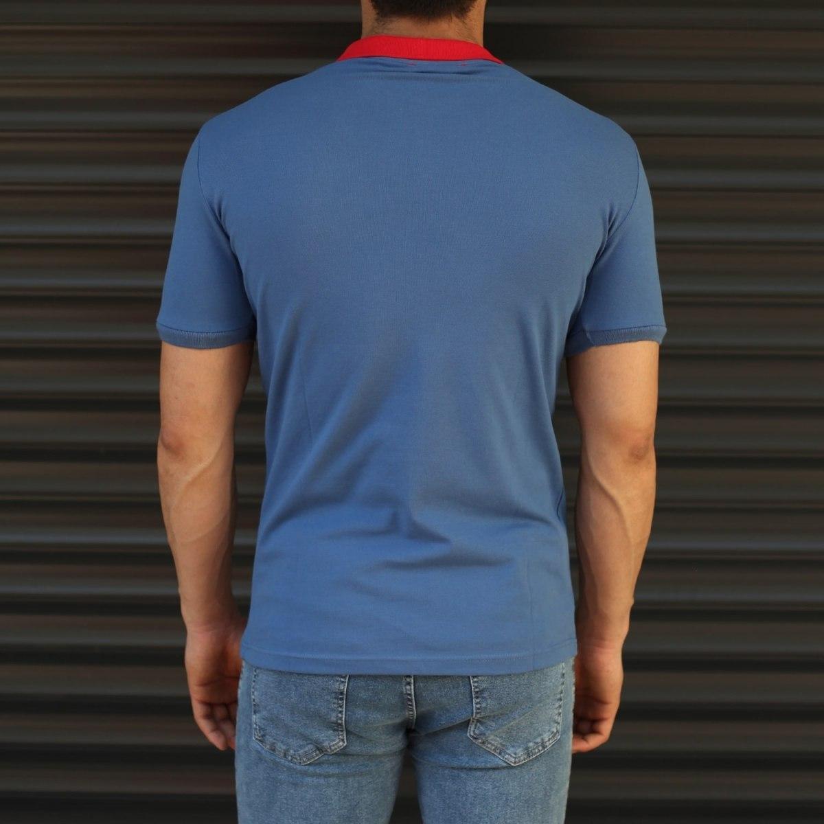 Men's Triple Color Slim Fit Polo T-Shirt Blue Mv Premium Brand - 2