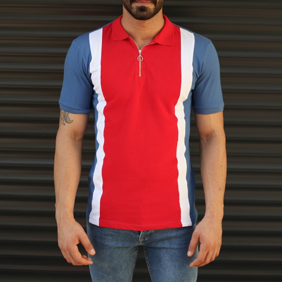Men's Triple Color Slim Fit Polo T-Shirt Blue Mv Premium Brand - 3