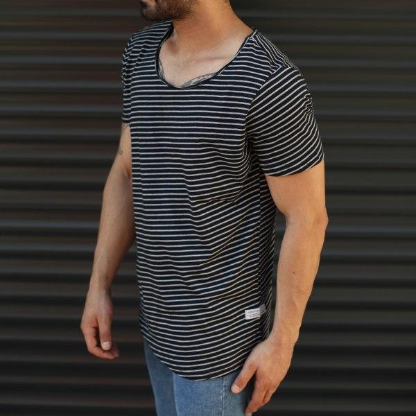 Men's Striped Wide Neck...