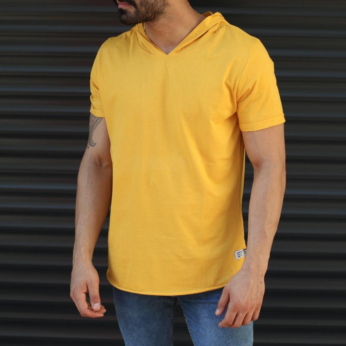 Men's Hooded Longline Basic T-Shirt Yellow Mv Premium Brand - 1