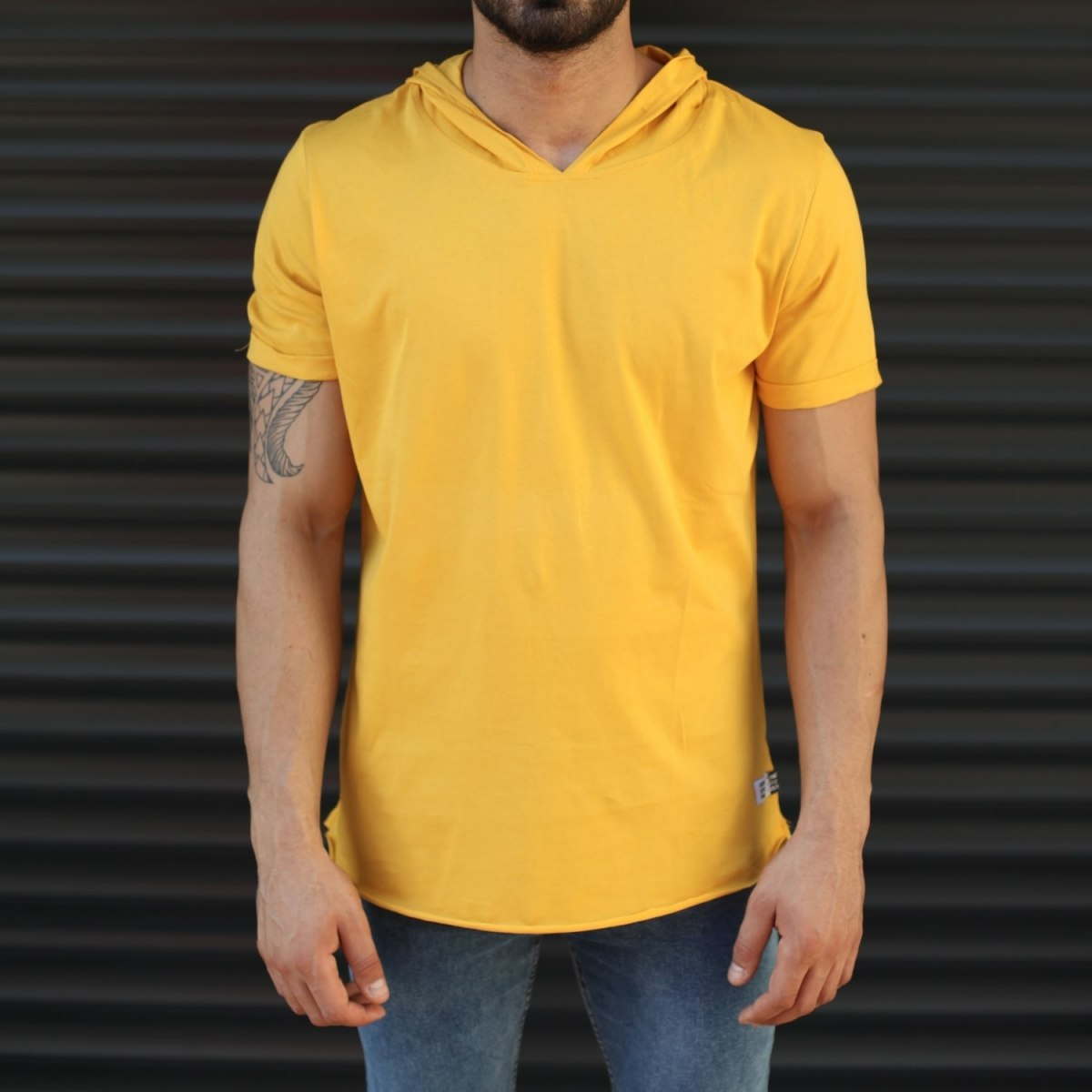 Men's Hooded Longline Basic T-Shirt Yellow