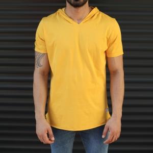 Men's Hooded Longline Basic T-Shirt Yellow Mv Premium Brand - 2