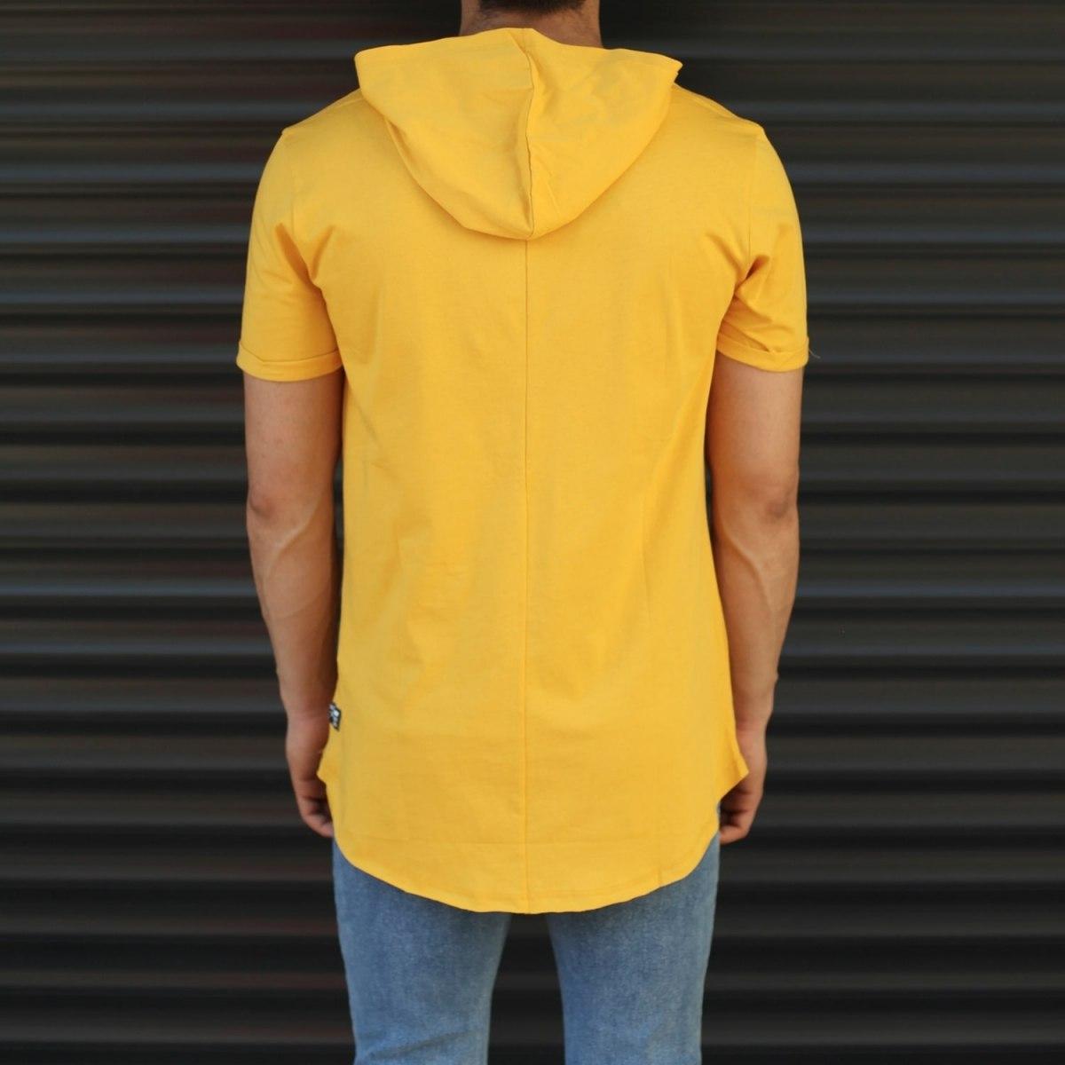 Men's Hooded Longline Basic T-Shirt Yellow Mv Premium Brand - 3
