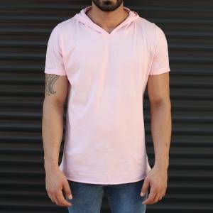 Men's Hooded Longline Basic T-Shirt Pink Mv Premium Brand - 1