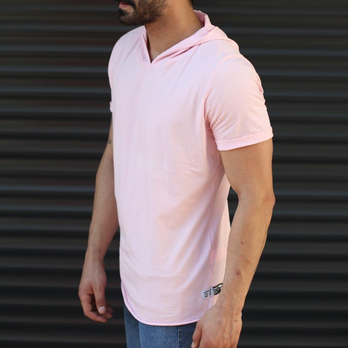 Men's Hooded Longline Basic T-Shirt Pink Mv Premium Brand - 2