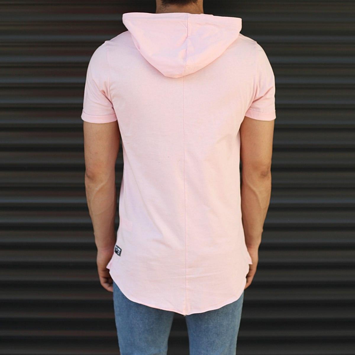 Men's Hooded Longline Basic T-Shirt Pink Mv Premium Brand - 3