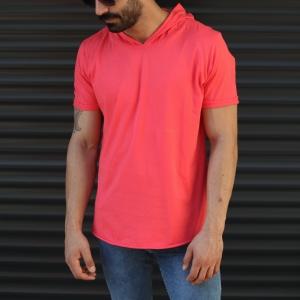 Men's Hooded Longline Basic T-Shirt Fuchsia Mv Premium Brand - 1
