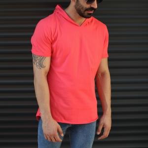 Men's Hooded Longline Basic T-Shirt Fuchsia Mv Premium Brand - 2