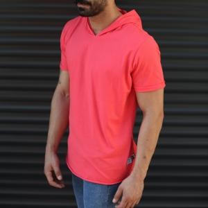 Men's Hooded Longline Basic T-Shirt Fuchsia Mv Premium Brand - 3
