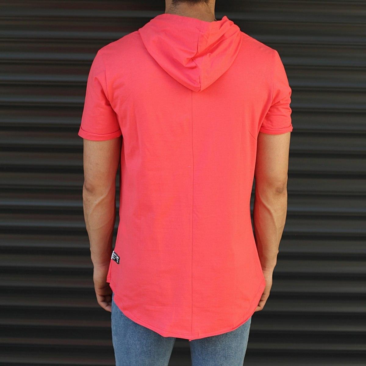 Men's Hooded Longline Basic T-Shirt Fuchsia Mv Premium Brand - 4