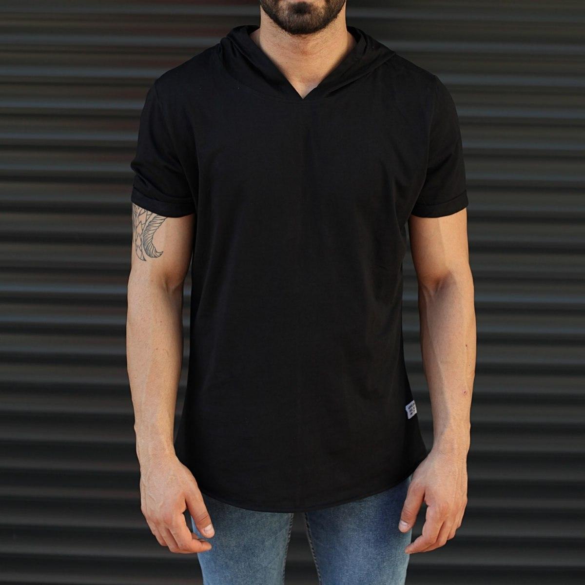 Men's Hooded Longline Basic T-Shirt Black