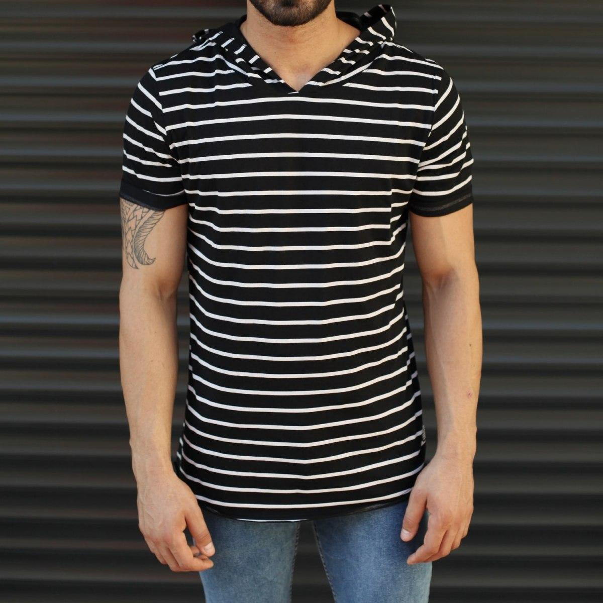Men's Hooded Longline Striped T-Shirt Black Mv Premium Brand - 1
