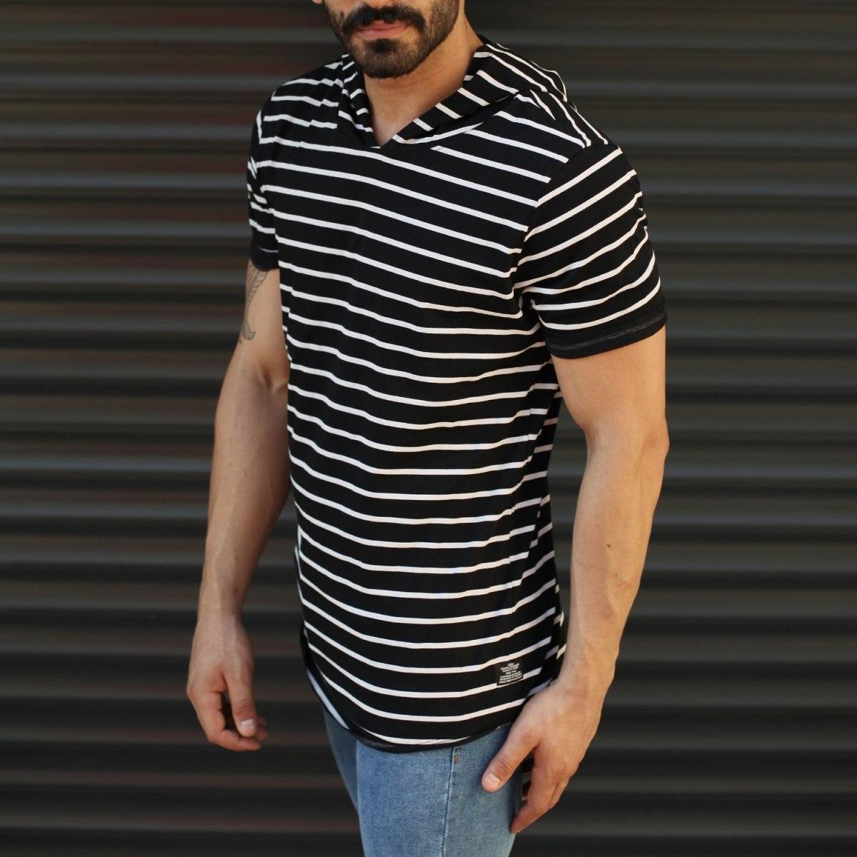 Men's Hooded Longline Striped T-Shirt Black Mv Premium Brand - 2