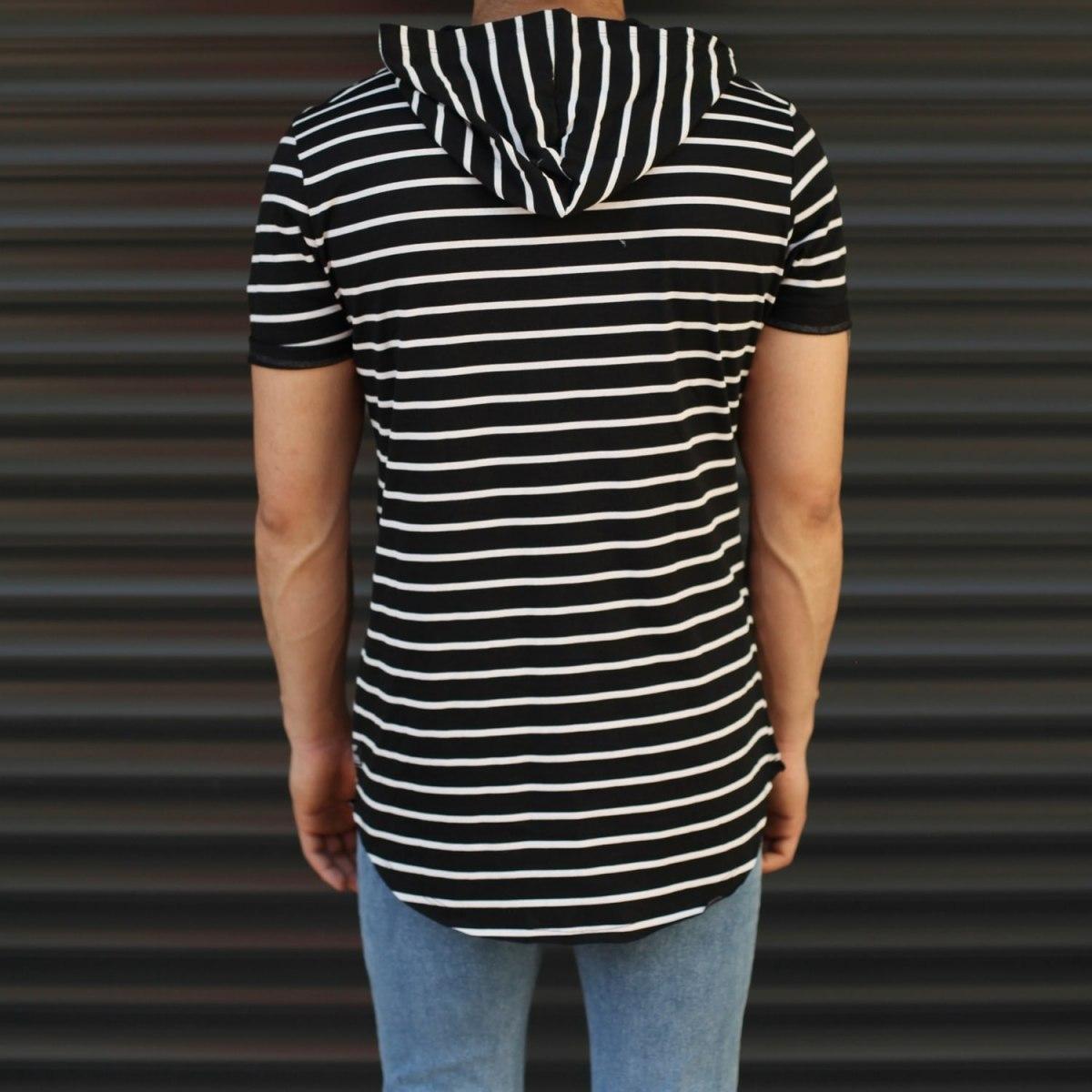 Men's Hooded Longline Striped T-Shirt Black Mv Premium Brand - 3
