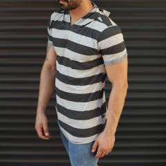 Men's Hooded Longline Thick Striped T-Shirt Gray Mv Premium Brand - 1