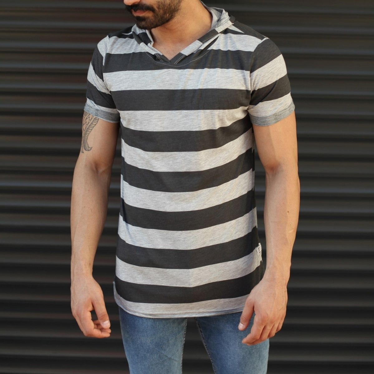 Men's Hooded Longline Thick Striped T-Shirt Gray