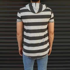 Men's Hooded Longline Thick Striped T-Shirt Gray Mv Premium Brand - 3