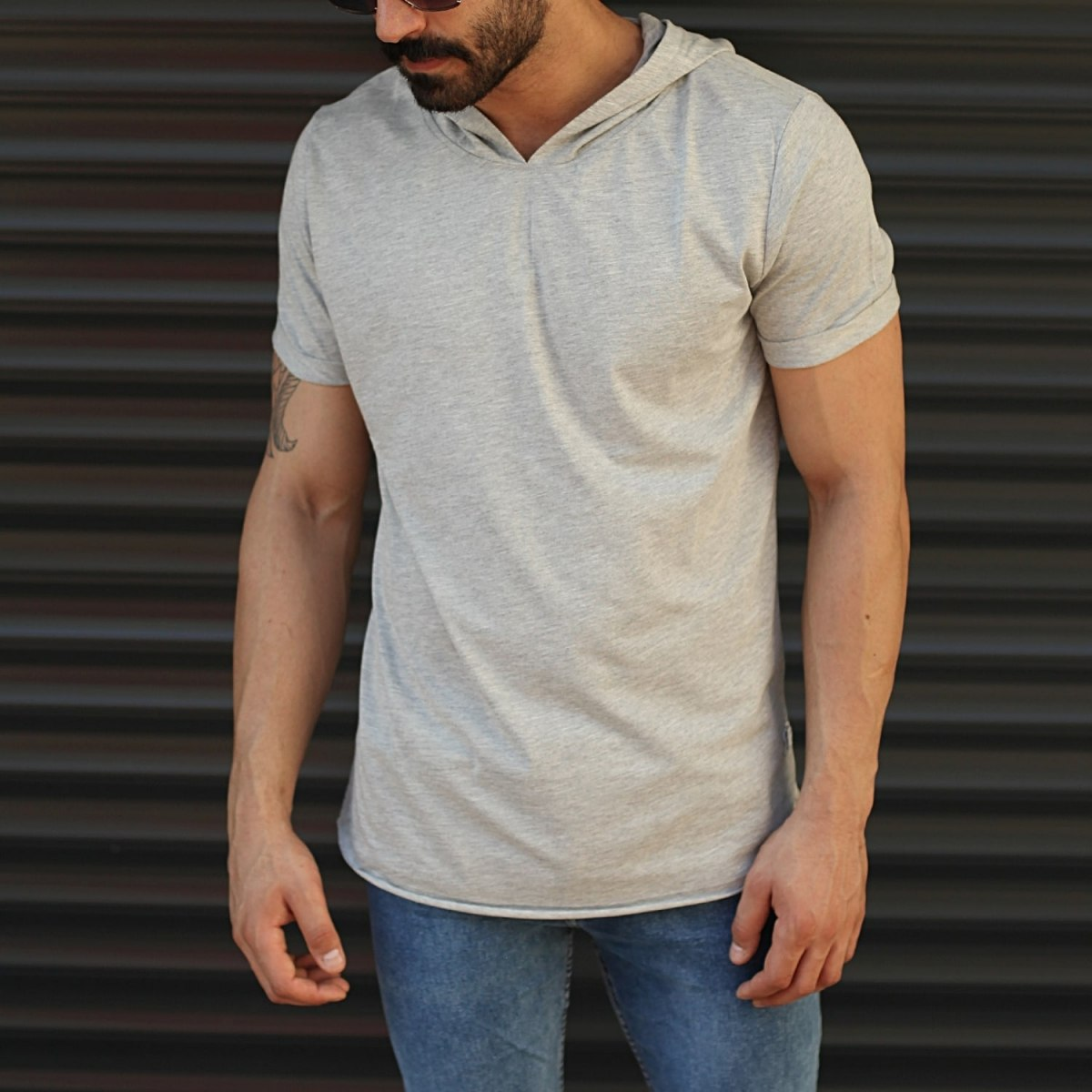Men's Hooded Longline Basic T-Shirt Gray Mv Premium Brand - 1