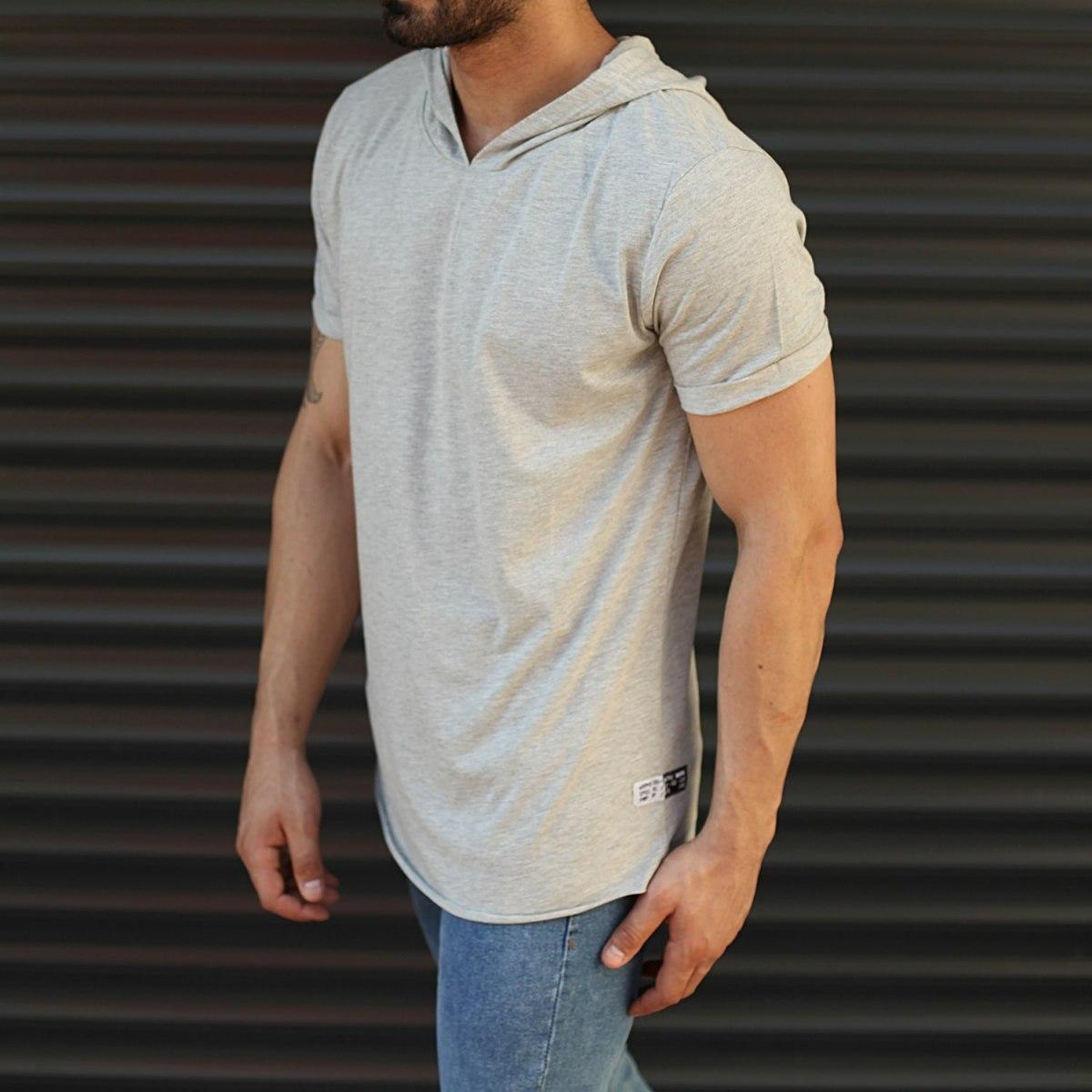 Men's Hooded Longline Basic T-Shirt Gray Mv Premium Brand - 2