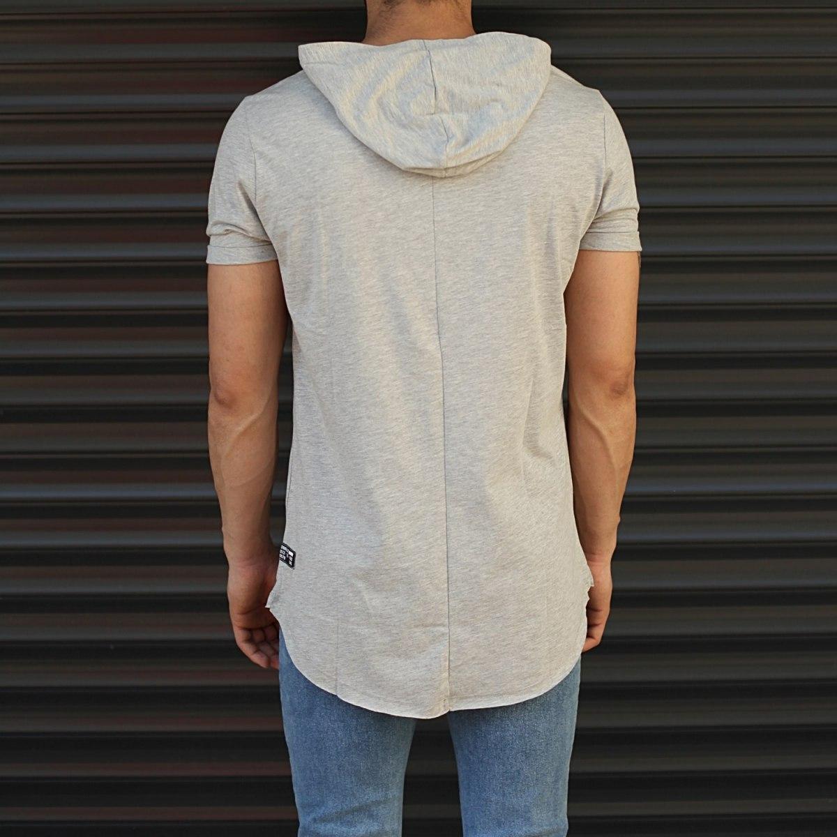 Men's Hooded Longline Basic T-Shirt Gray Mv Premium Brand - 3