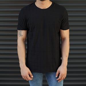 Men's Longline Muscle Fit T-Shirt In Black Mv Premium Brand - 1