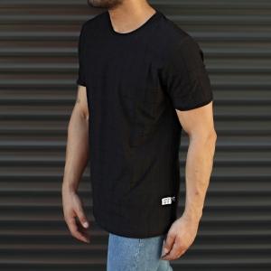 Men's Longline Muscle Fit T-Shirt In Black Mv Premium Brand - 2