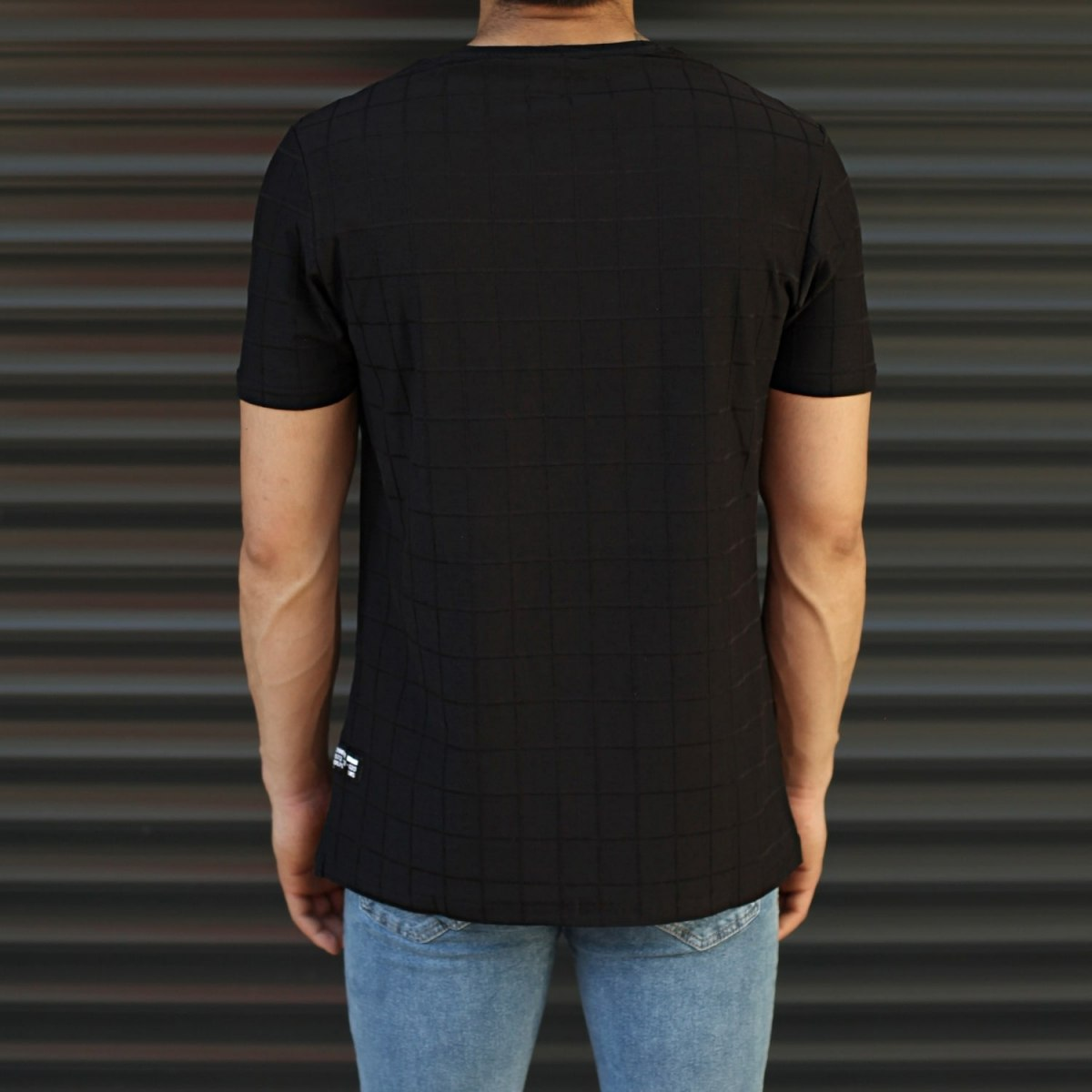 Men's Longline Muscle Fit T-Shirt In Black Mv Premium Brand - 3