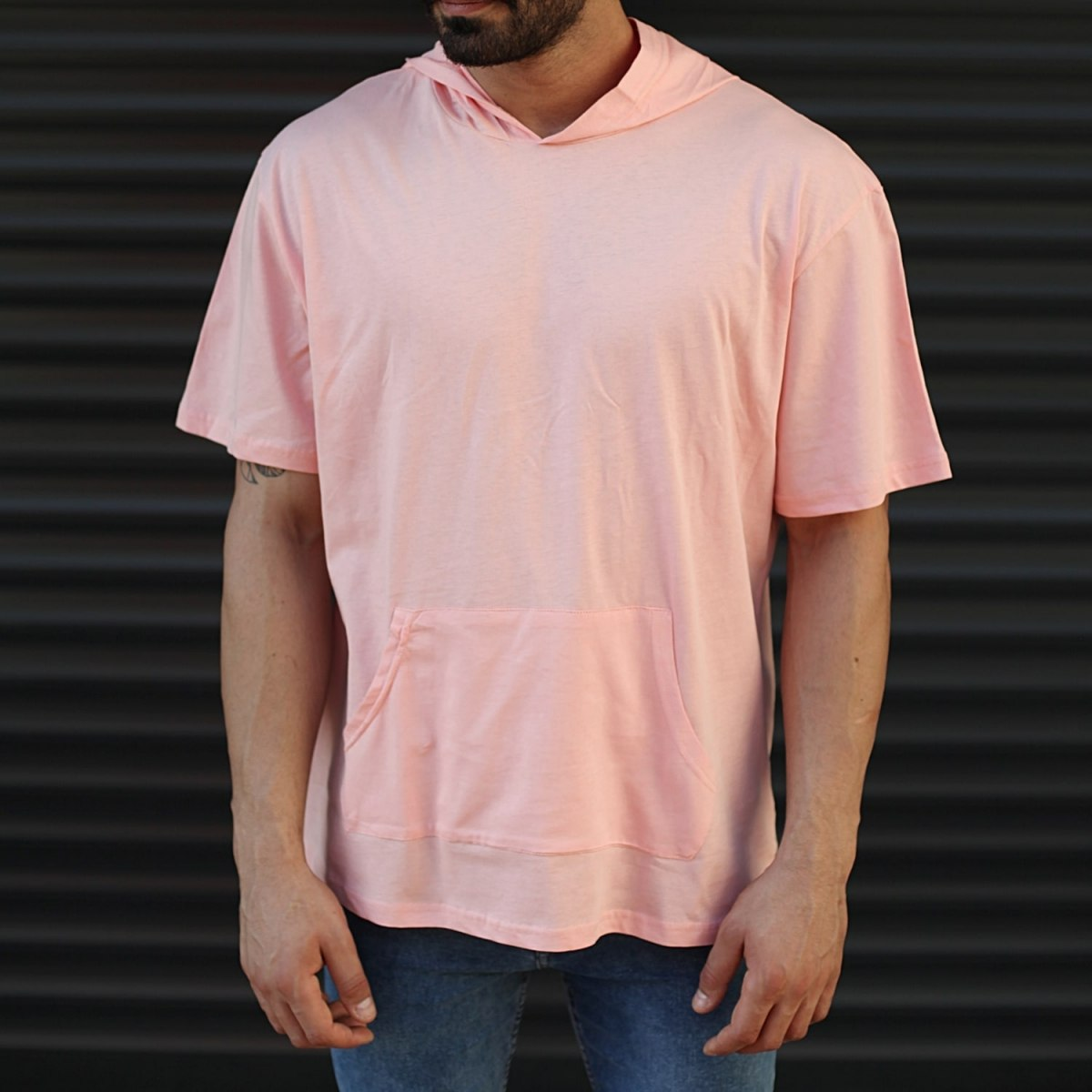 Men's Hooded Short Sleeve T-Shirt With Pockets Pink