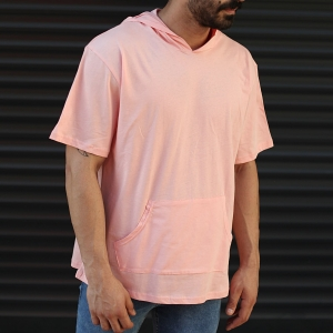 Men's Hooded Short Sleeve T-Shirt With Pockets Pink Mv Premium Brand - 2