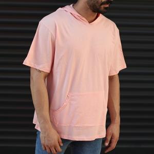 Men's Hooded Short Sleeve T-Shirt With Pockets Pink Mv Premium Brand - 2