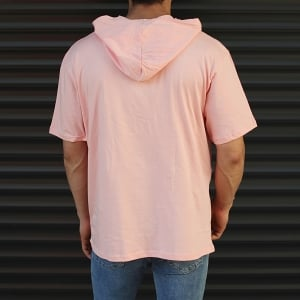 Men's Hooded Short Sleeve T-Shirt With Pockets Pink Mv Premium Brand - 3