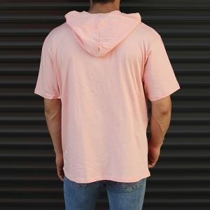 Men's Hooded Short Sleeve T-Shirt With Pockets Pink Mv Premium Brand - 3