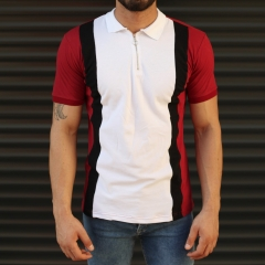 Men's Casual Muscle Fit Polo T-Shirt White & Red Mv Premium Brand - 1