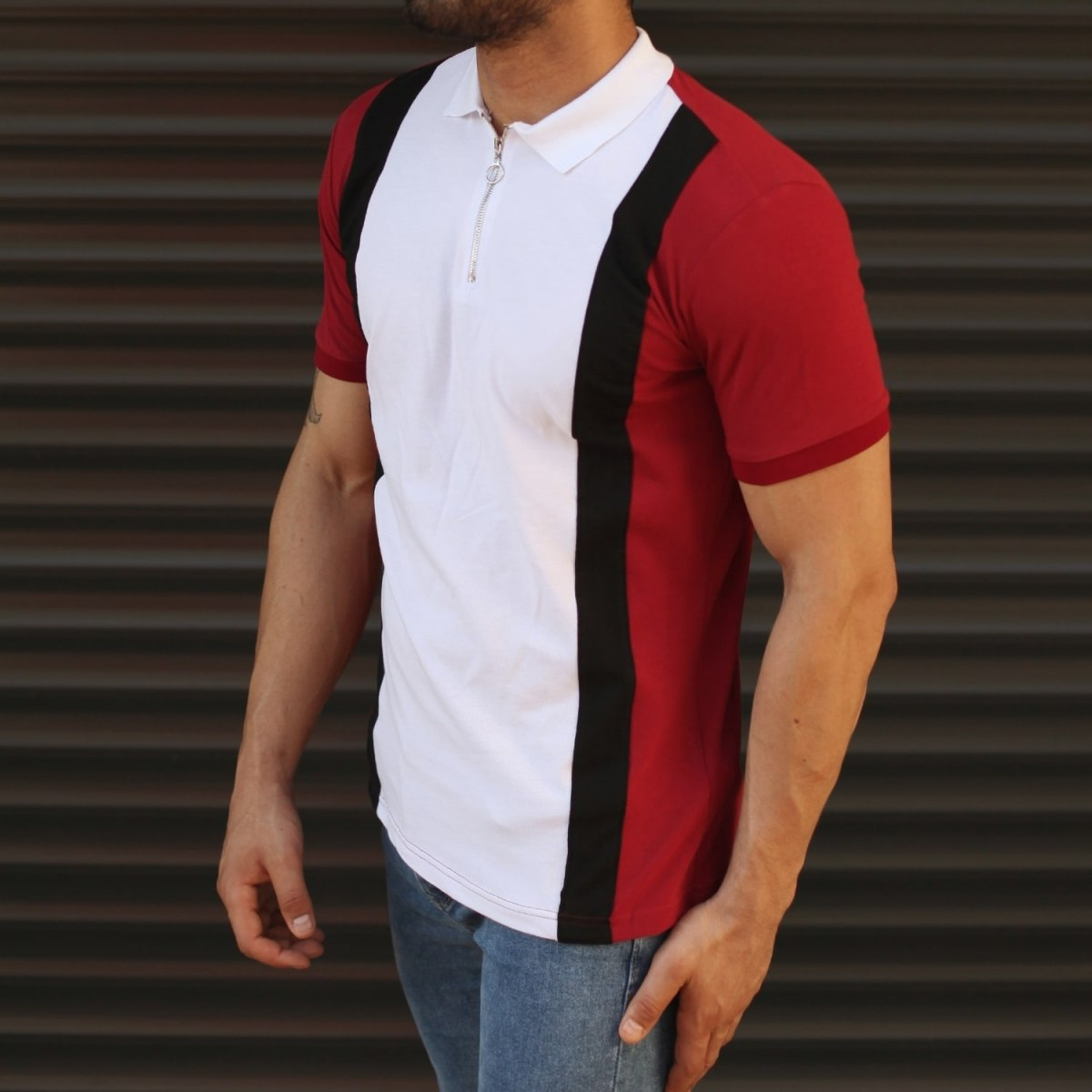 Men's Casual Muscle Fit Polo T-Shirt White & Red Mv Premium Brand - 2