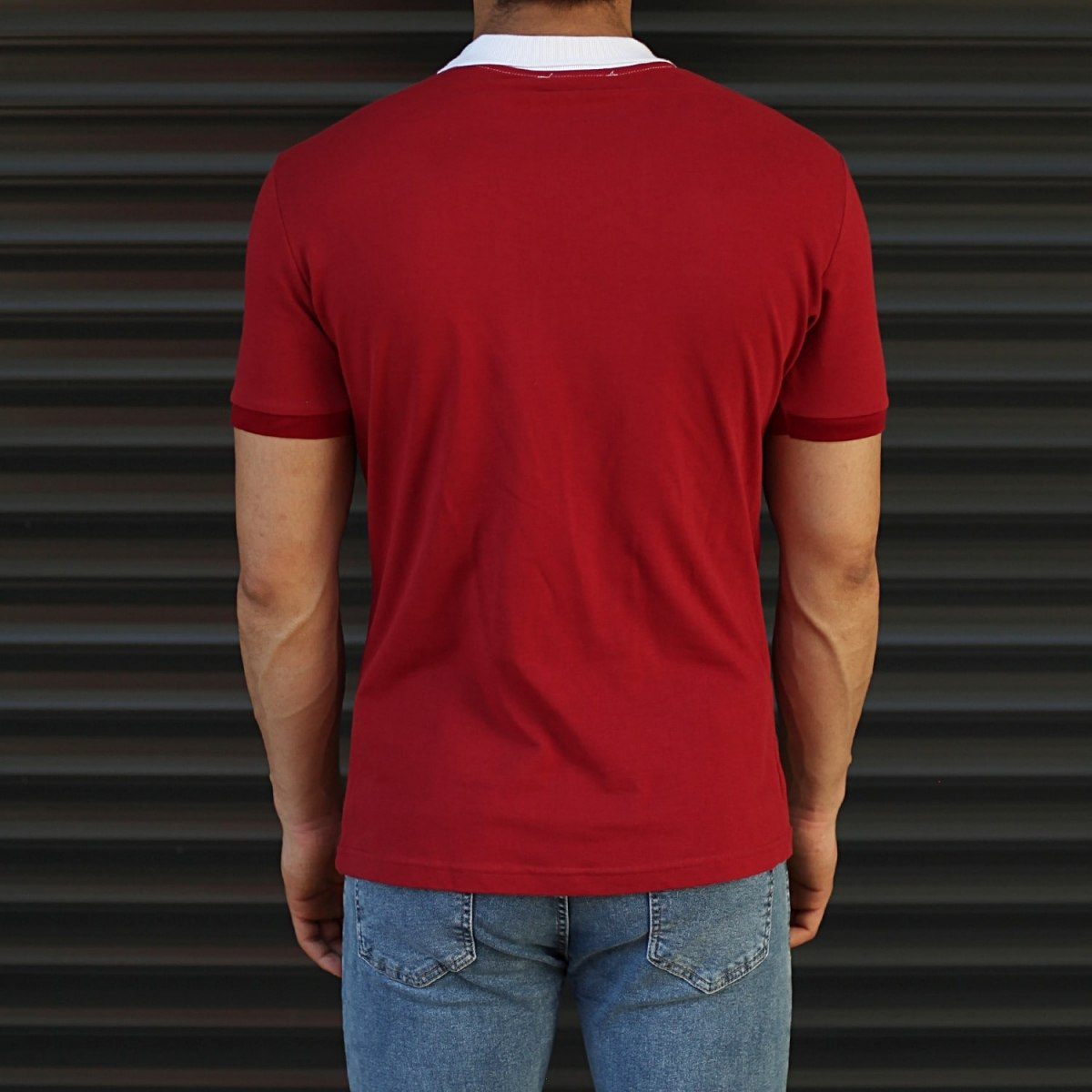 Men's Casual Muscle Fit Polo T-Shirt White & Red Mv Premium Brand - 3