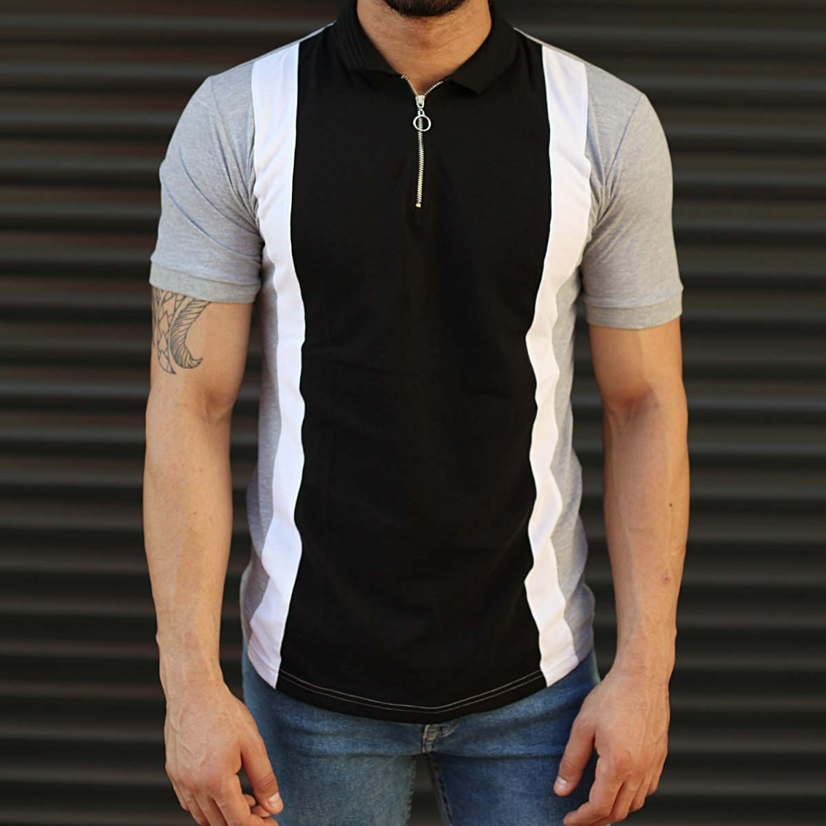 Men's Casual Muscle Fit Polo T-Shirt Black & Gray