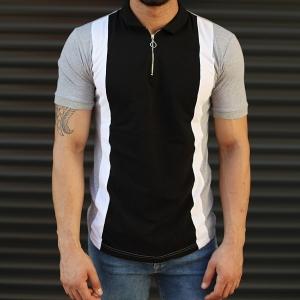 Men's Casual Muscle Fit Polo T-Shirt Black & Gray Mv Premium Brand - 1