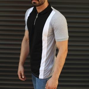 Men's Casual Muscle Fit Polo T-Shirt Black & Gray Mv Premium Brand - 2