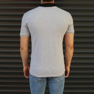 Men's Casual Muscle Fit Polo T-Shirt Black & Gray Mv Premium Brand - 3