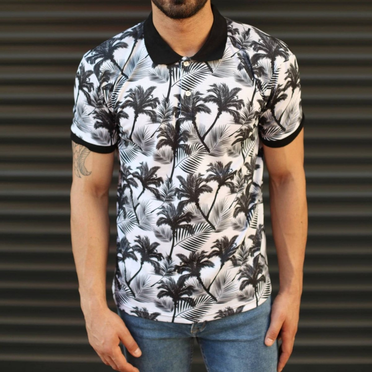Men's Fresh Palm Pattern Polo T-Shirt Mv Premium Brand - 1