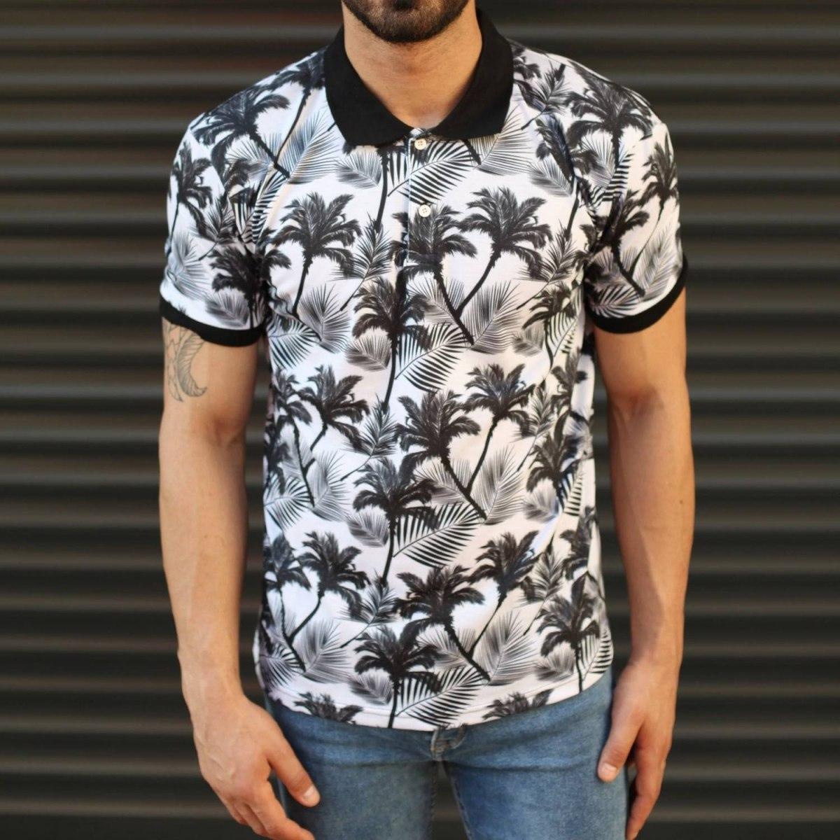 Men's Fresh Palm Pattern Polo T-Shirt
