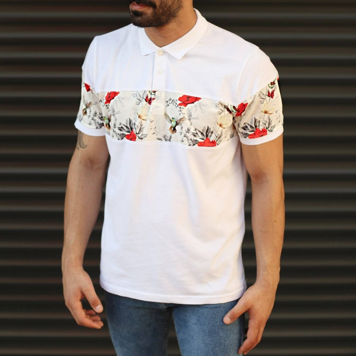 Men's Floral Pattern Line Polo T-Shirt White